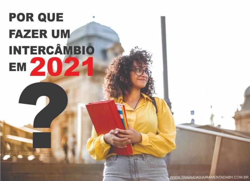 Porque fazer um intercâmbio em 2021 (Na imagem tem uma mulher segurando alguns cadernos e no fundo tem uma catedral.